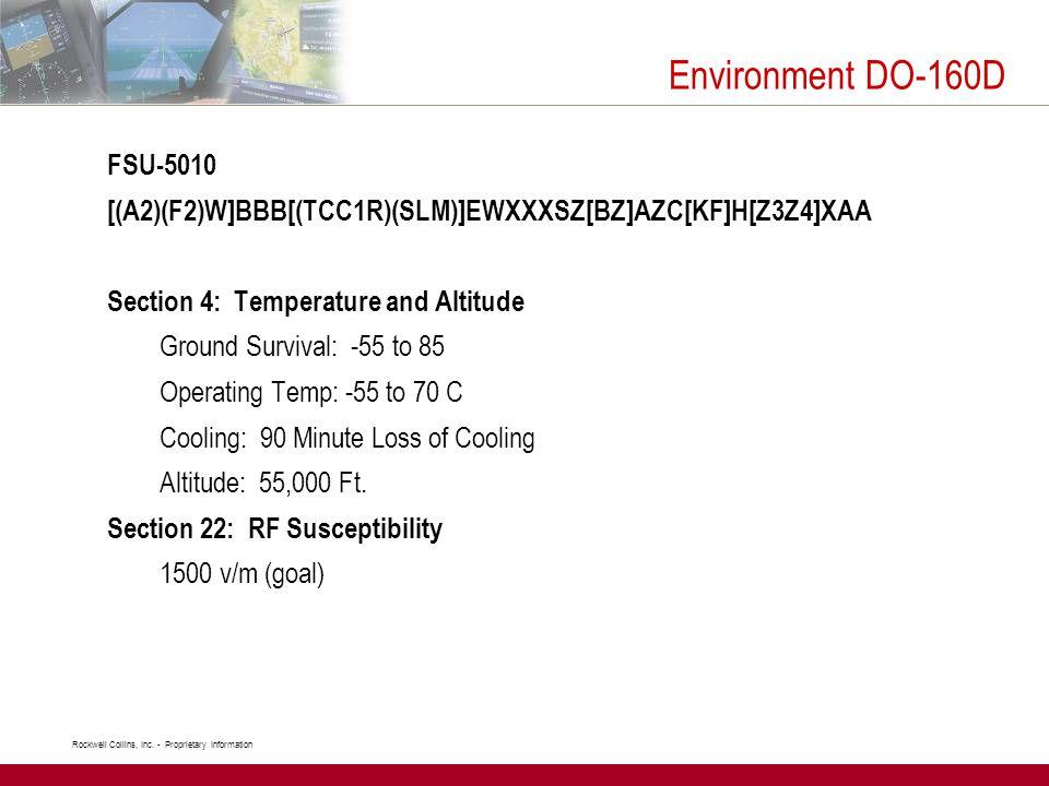 Environment DO-160D FSU-5010. [(A2)(F2)W]BBB[(TCC1R)(SLM)]EWXXXSZ[BZ]AZC[KF]H[Z3Z4]XAA. Section 4: Temperature and Altitude.